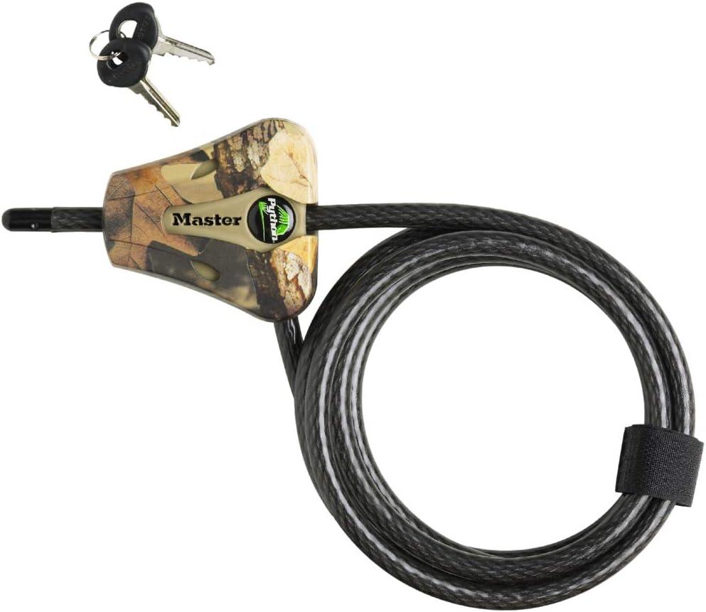 6 ft Long Black Master Lock 8418D Python Keyed Cable Lock