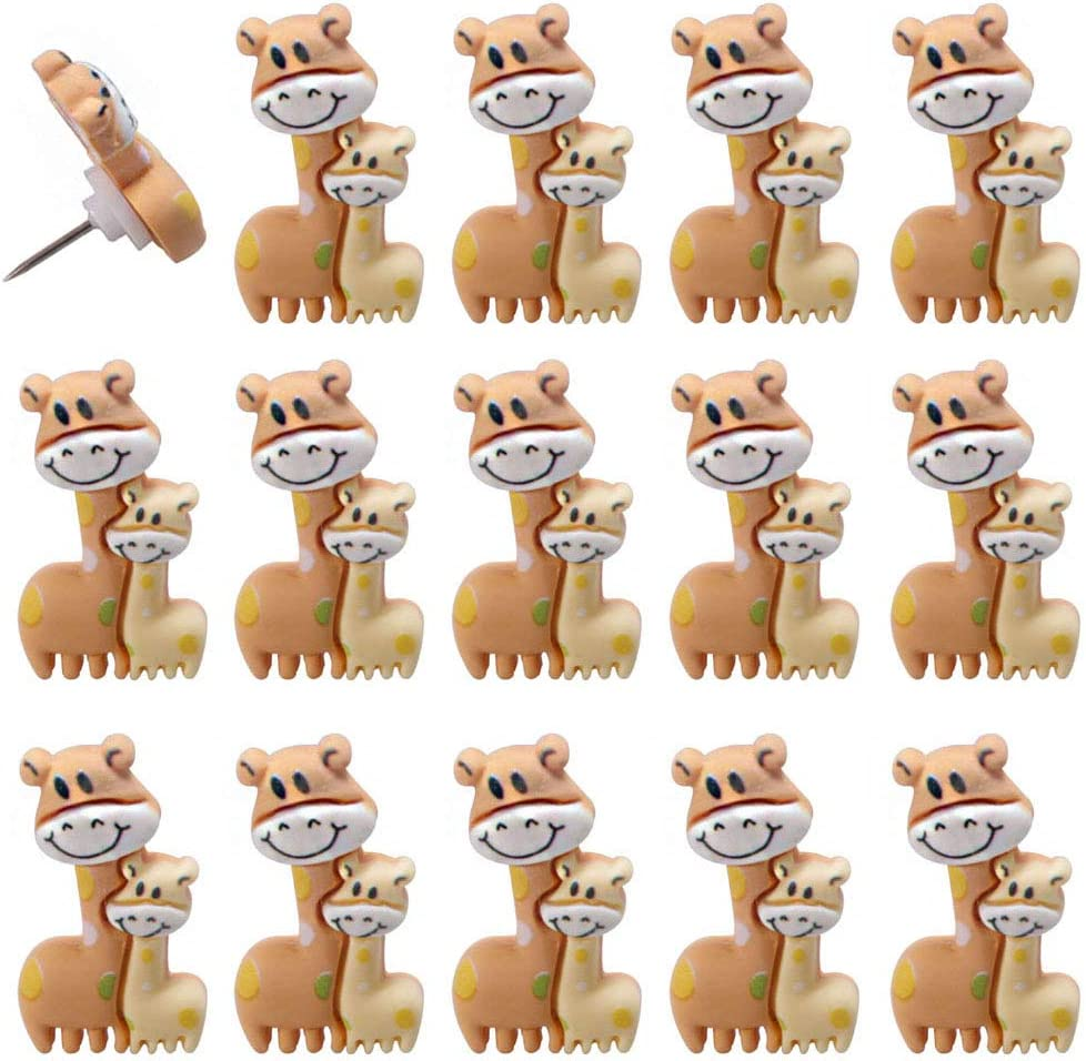 FoyaHome 15 Pcs Cute Animal Push Pins Decorative Bulletin Board Thumbtacks Nail Drawing Pins Clips for Cork Board Photo Paper Wall Map Office Home Supplies Decor (Giraffe)