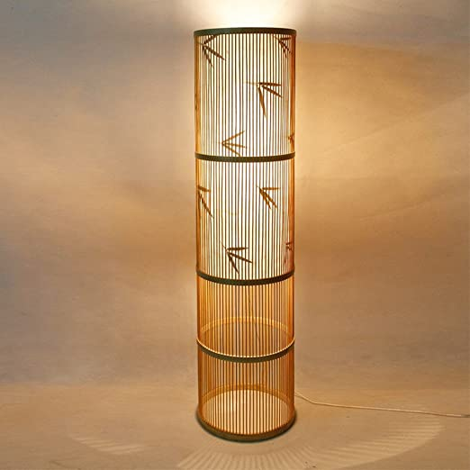 Floor lamp vbimlxft- Lámpara de pie Hueca de bambú Simple E27 ...