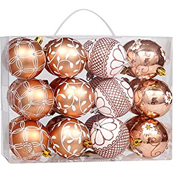 sea team 70mm276 delicate floral theme painting glittering christmas tree pendants shatterproof