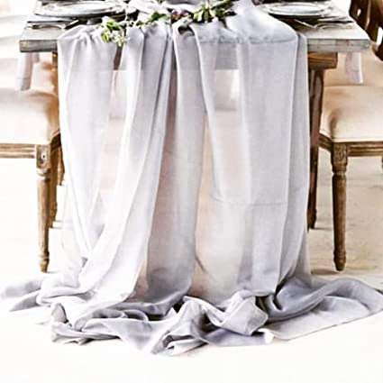 Amazon soardream grey chiffon table runners 27x120 inches sheer soardream grey chiffon table runners 27x120 inches sheer table runner wedding reception top table decoration junglespirit Choice Image