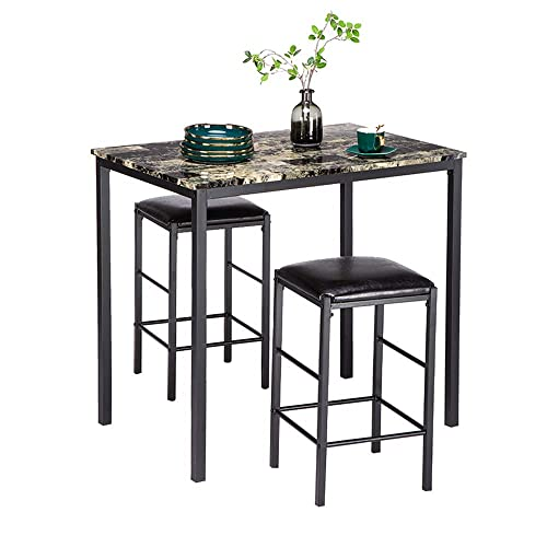 Bonnlo 3 Piece Dining Table Set Counter Height Table Set for 2,Faux Marble Pub Dining Table with 2 Upholstered Stools