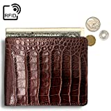 Lethnic Mens Bifold Wallet features Horizontal Credit Card Style, Made from Crocodile Embossed Cowhide Genuine Leather with RFID Blocking, Super Thin and Slim for Pockets, Brown Horizontal