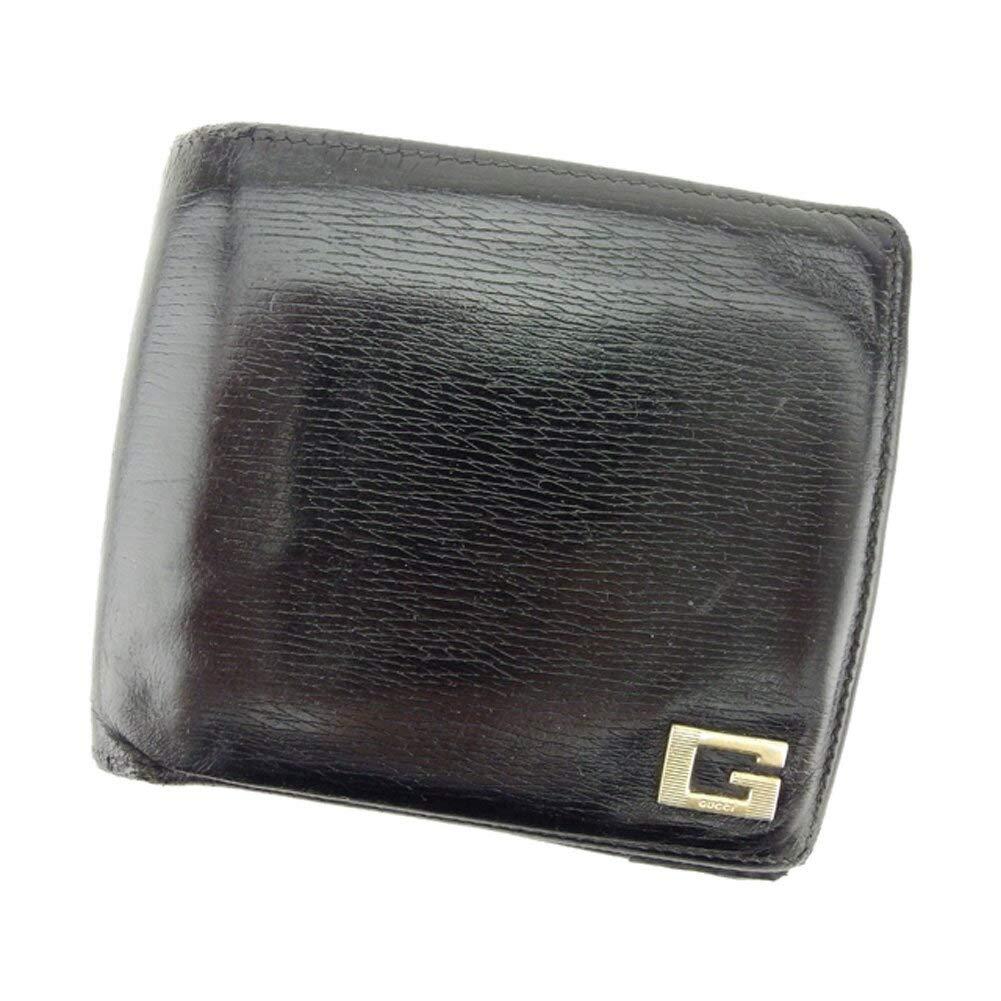(グッチ) Gucci 二つ折り 財布 ブラック ゴールド Gマーク メンズ 中古 D1874   B07HMM2SNL