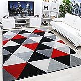 Moderno Y Contemporáneo Diamante Negro, Gris, Crema & Rojo Muy Funky Alfombra Extra Grande - 160x225cm