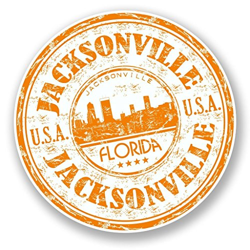 2 x 10cm/100mm Jacksonville Florida USA Vinyl Sticker Decal Laptop Travel Luggage Car iPad Sign Fun #5970