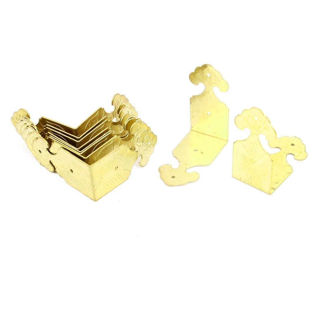 Metal Uxcell a14081900ux0656 Corner Braces Angle Brackets 45mm x 22mm x 45mm 10 Pcs Brass Tone