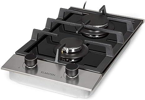 Klarstein Alchemist - Placa de cocina de gas, Autárquico, Quemadores de aluminio, Gas natural/butano, Soportes de hierro fundido, Superficie de ...