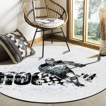 Libaoge Contemporary Collection Round Area Rugs 3 ft Diameter Roundle Mat, Ice Hockey Soft Living Room Bedroom Unique Carpet Woman Yoga Mat Home Decor