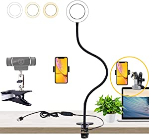 Video Conference Lighting Stand Kit -Laptop Webcam Stand-Desk Selfie Ring Light with Phone Holder for Online Class, Teaching,Live Stream, Meeting,Guita Compatible for logitech webcams, Phones