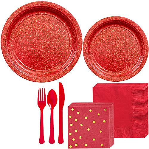 (Party City Prismatic Red Tableware Kit for 16 Guests, 146 Pieces, Includes Plates, Polka Dot Napkins, and)