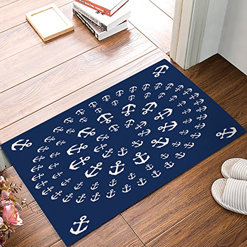 Nautical Anchor Mandala Zentable Doormats Entrance Front Door Rug Outdoors/Indoor/Bathroom/Kitchen/Bedroom/Entryway Floor Mats,Non-Slip Rubber,Low-Profile (Outdoor Nautical Fabric)