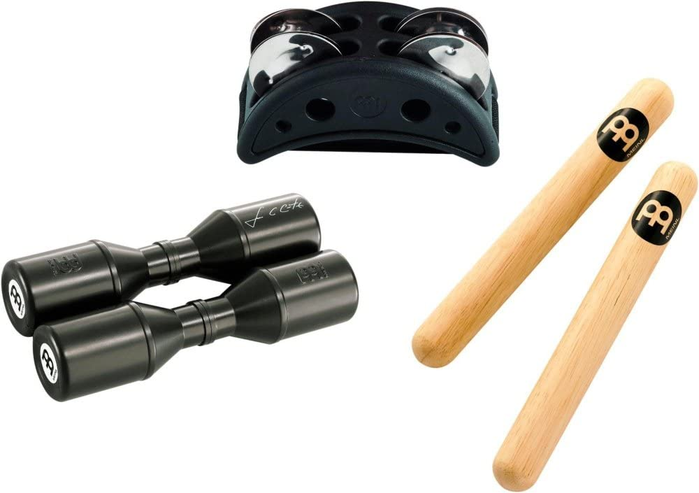 Meinl Percussion PP Piece Starter Pack including compact CFJS2S-BK Fu/ßtambourine Luis SH4BK Conte Shaker and CL1HW Classic Wood Claves 1 3