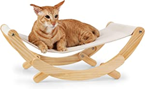 FUKUMARU Cat Hammock - New Moon Cat Swing Chair, Kitty Hammock Bed, Cat Furniture Gift for Your Small to Medium Size Cat or Toy Dog (Upgrade - Beige)