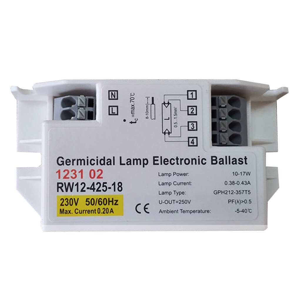 230V 10-17W Germicidal Lamp Electronic Ballast for Lamp GPH212-357T5, Pack of 2pcs, RW12-425-18,50000h Working Time, CE Certificate FOSHAN TENGNUO LIGHTING CO. LTD
