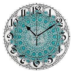ALAZA Vintage Ethnic Flower Mandala Round Acrylic Wall Clock, Silent Non Ticking Oil Painting Home Office School Decorative Clock Art