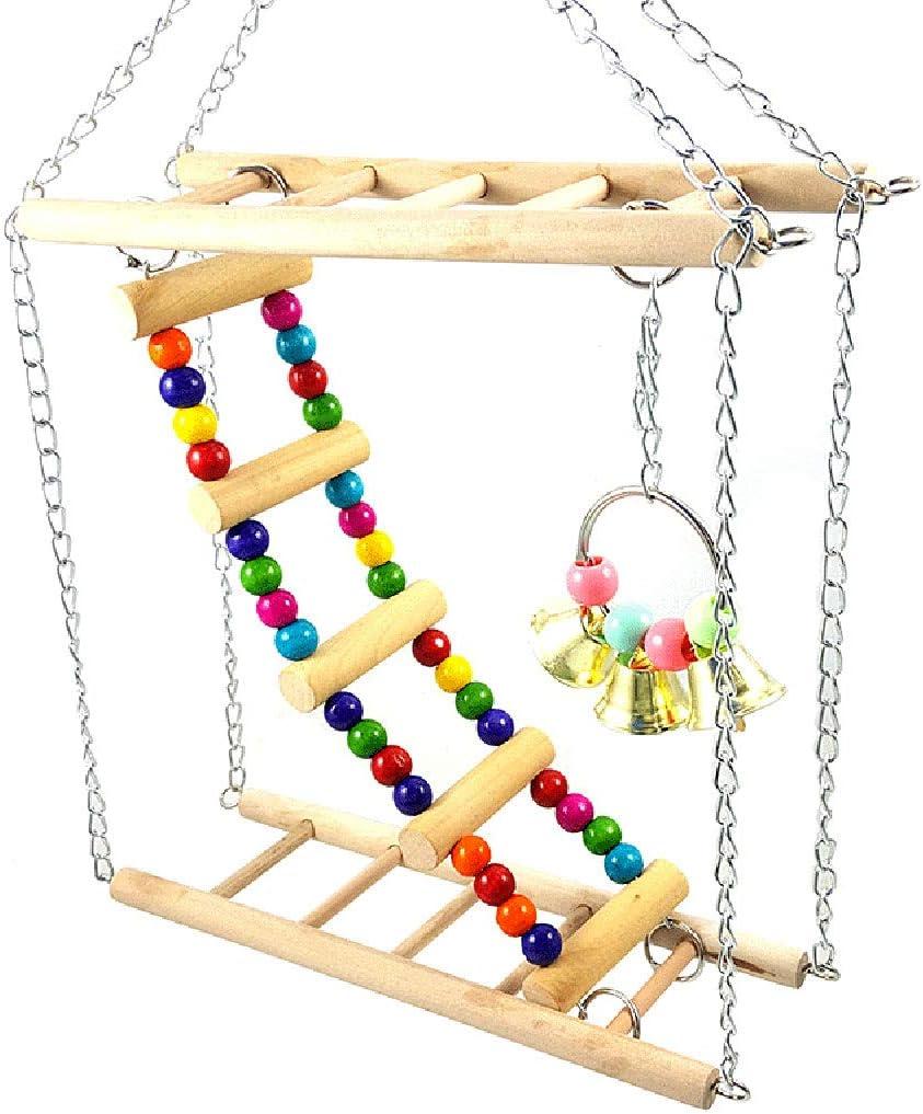 ESden - Hamster Colgante de Madera con Columpio para Mascotas, Escalera de Juguetes, Plataforma de Soporte