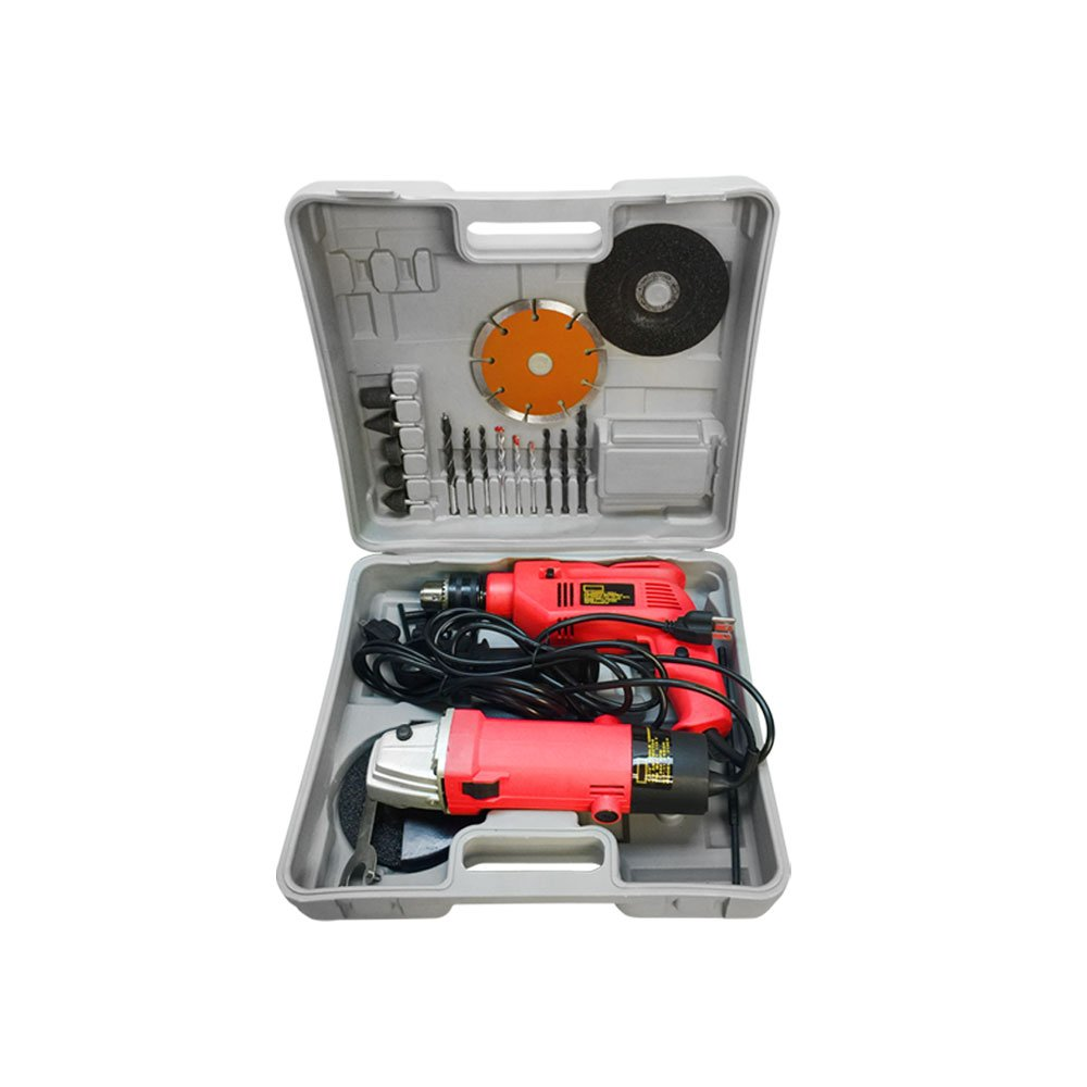 4-1/2'' Angle Grinder 1/2'' Hammer Drill Kit Diamond Blade Cut-Off Tool Kit