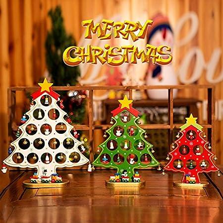YKBSY Adornos navideños pequeños Adornos de Madera para árboles de Navidad, una Sola Pieza Mini árbol de Navidad decoración de Mesa Pequeño Verde: Amazon.es: Hogar