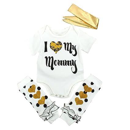 puseky recién nacido bebé niño Niña amor mamá Pelele diadema calentadores de la pierna ropa Set