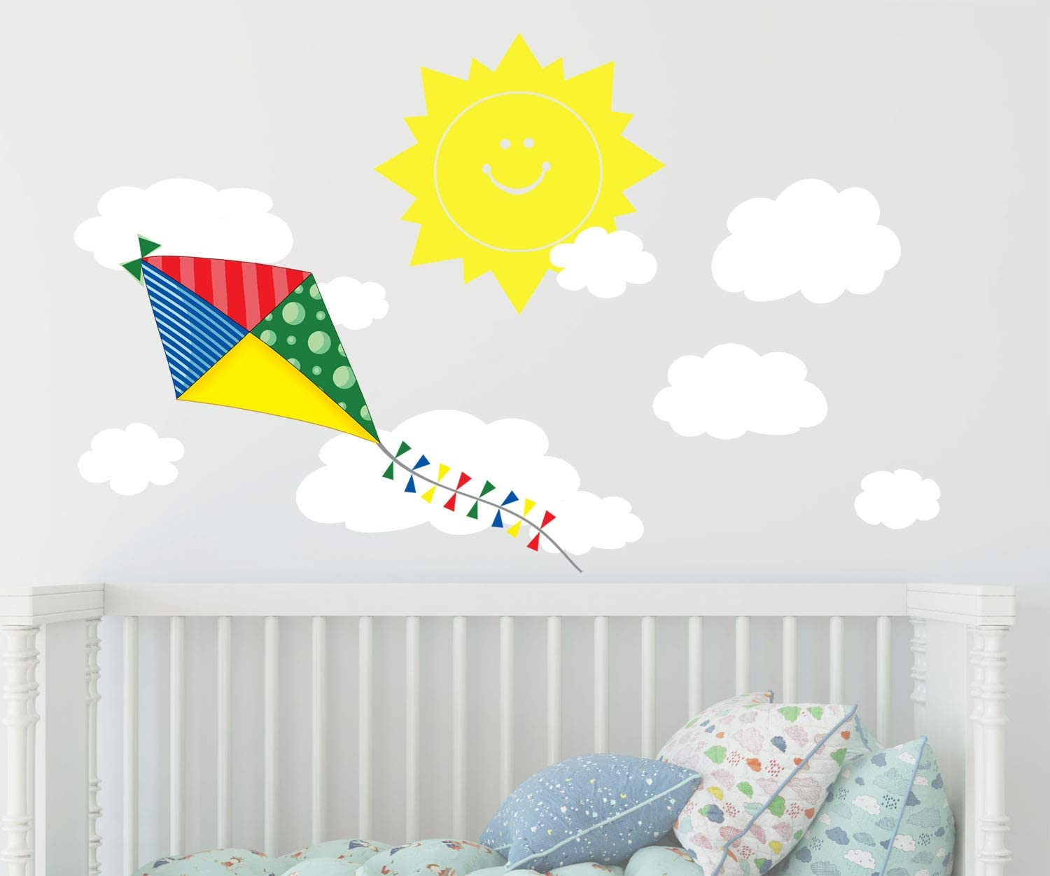 Amazon Com Create A Mural Preschool Wall Decor Kite Wall Decal With Happy Sun And Clouds Wall Sticker Decor Nursery Peel And Stick Removable Vinyl Kids Room Decoration Arts Crafts Sewing