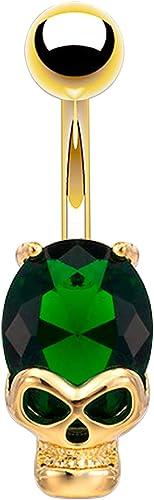 NOVA Skull Belly Bar Gold Belly Button Ring Gem Navel Piercing Jewel Belly Rings
