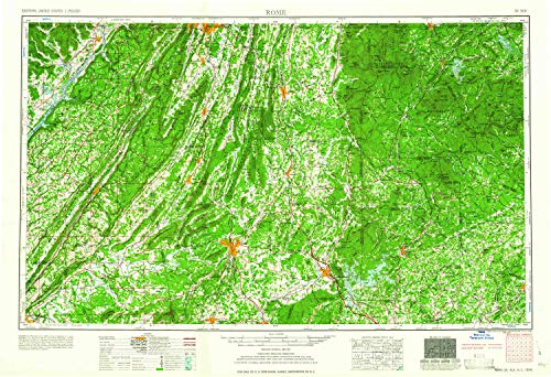 YellowMaps Rome GA topo map, 1:250000 Scale, 1 X 2 Degree, Historical, 1961, 21.9 x 32.1 in - Paper (Cohutta Ga)