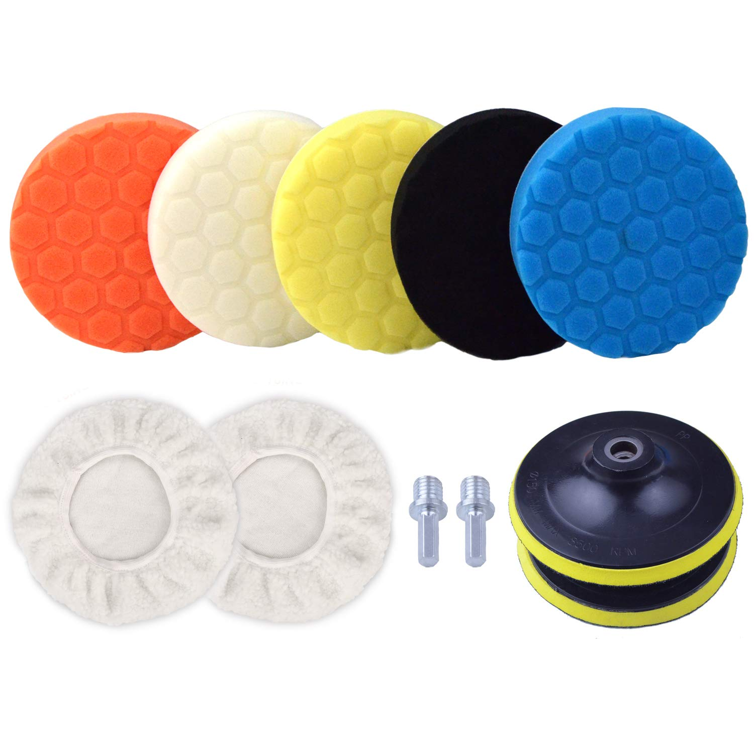 POLIWELL 6 Inch Car Polishing & Buffing Sponge Pads Kit Wool Bonnet Pads for Household Electric Drill and Auto Polisher with 8mm M14 Drill Adapter for Washing Cleaning Waxing Dusting, 11PCS