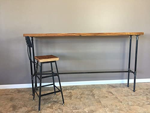 Barn XO Industrial Console Table Made with Pipe Legs Bar Height 42 H 84 L x 12 W x 42 H, Rough Top