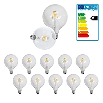 ECD Germany 10 x Bombilla LED Filamento E27 Edison 8W 125 mm 816 Lumen 120 °