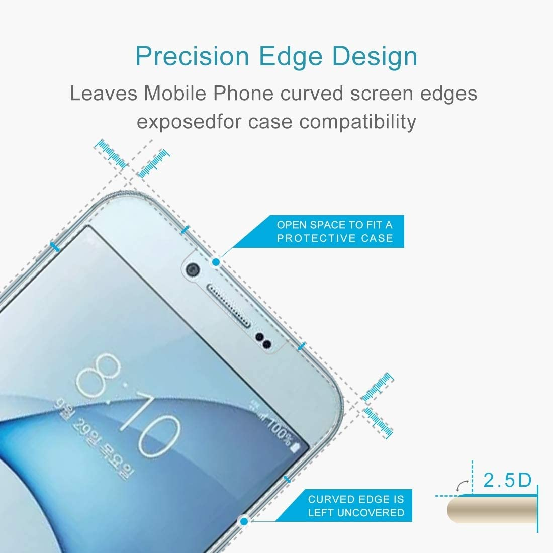 Screen Protectors for Phone 2016 Pokjsofjnjlfkl Phone Accessories 50 PCS 0.26mm 9H 2.5D Tempered Glass Film for Galaxy A8