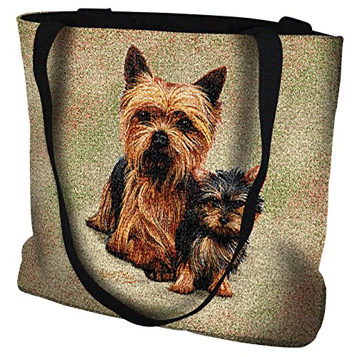 Pure Country Weavers - Yorkshire Terrier with Puppy Hand Finished Large Woven Tote Bag Cotton USA ()
