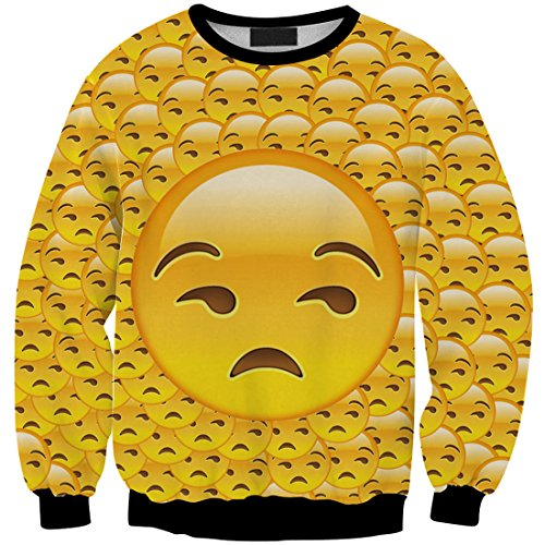 YICHUN mujeres niñas Tops camiseta Pullovers Thin Sudaderas Sudadera Blusa Emoji 9#