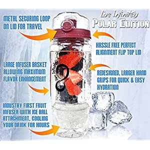 Live Infinitely 32 oz. Infuser Water Bottles - Featuring First Ever Gel Freezer Ball Infusion Rod, Flip Top Lid, Larger Dual Hand Grips & Recipe Ebook Gift (Red Polar Edition, 32 Ounce)