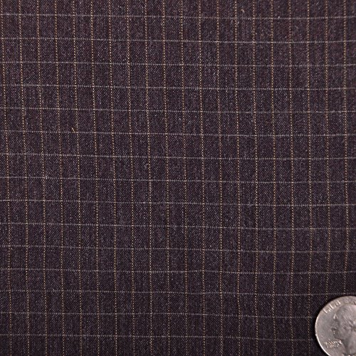 Mood Fabrics Italian Aubergine Lightweight Wool-Blend Checked Suiting, Pattern: - Italian Aubergine