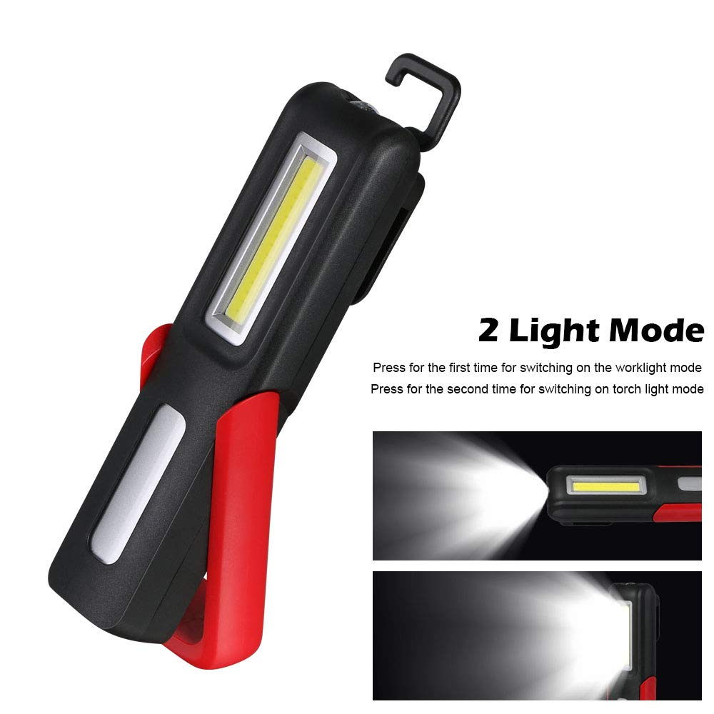for Workshop Automobile Camping Emergency Work Light with 3W LED Head 3W COB flintronic/® LED Torch Inspection Lamp Hangable Magnetic Base 2pcs USB Cable Rechargeable