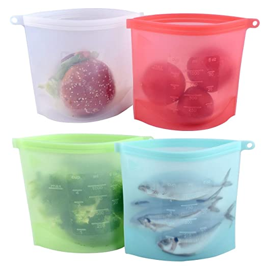Bolsas de alimentos reutilizables, 4 unidades de bolsas de ...