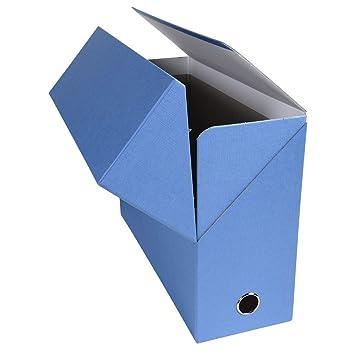 Exacompta 89422E - Caja archivadora forrada con papel entelado, lomo de 12 cm, color azul claro: Amazon.es: Oficina y papelería