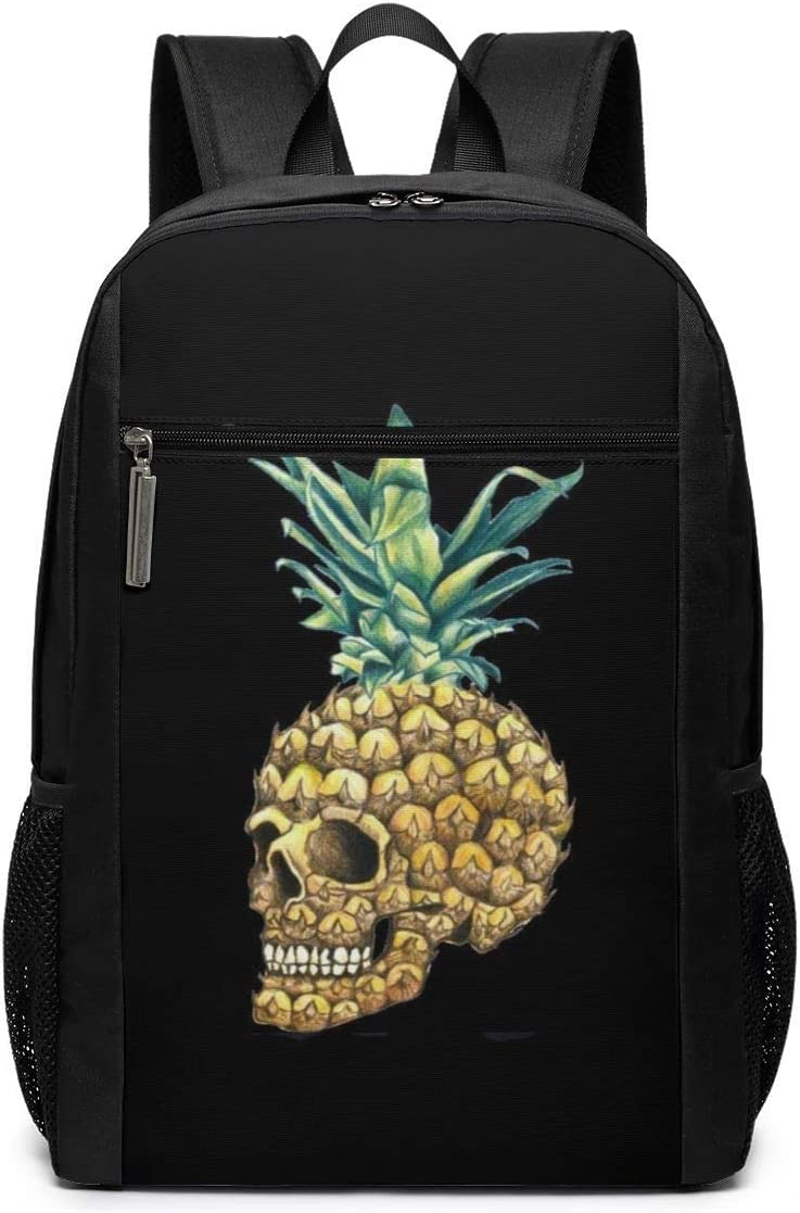 Black ~ Skull Pineapple Backpack Business Durable Laptop Backpack Water Resistant College School Computer Bag Gifts for Men Women 17in X 12in X 6in