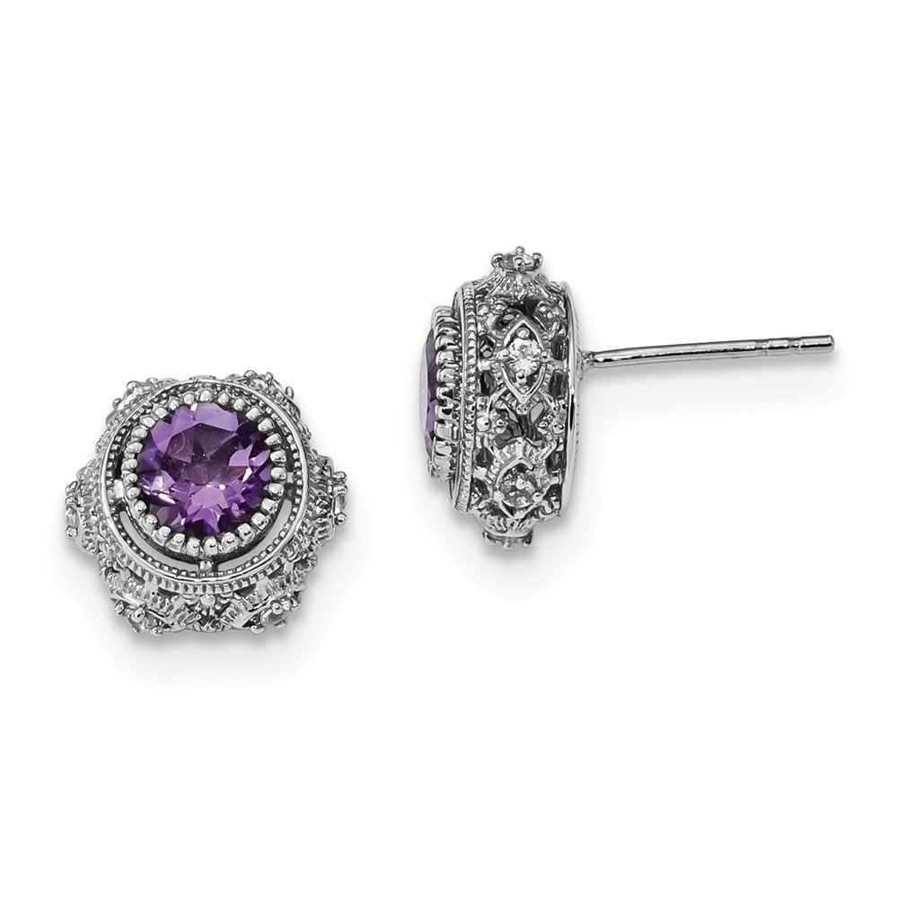 Sterling Silver Rhodium-plated Amethyst & White Topaz Post Earrings