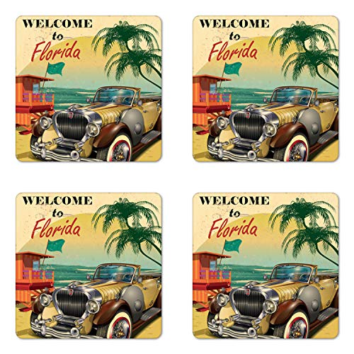 Beach Themed Photo Coaster - Ambesonne Florida Coaster Set of Four, Old Beach Picture with Vintage American Car a Visit to Touristic Coastal State, Square Hardboard Gloss Coasters for Drinks, Multicolor