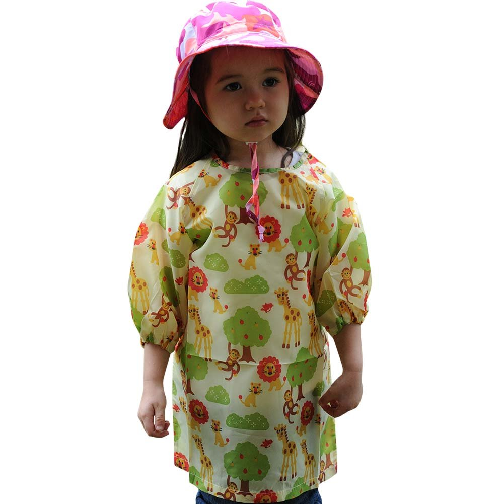 Long Sleeve Art Smock, Good Coverage, Breathable, Adjustable in Size (M: 3-5 Years, Animal Kingdom)