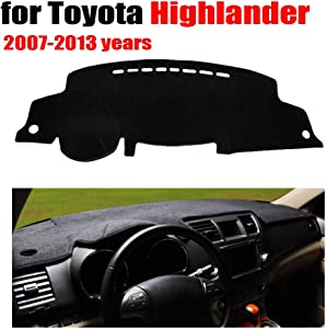 Qnice Car Dashboard Cover for Toyota Highlander 2007-2013 Left Hand Drive Dash Mat Covers Auto Dashboard Protector Accessories