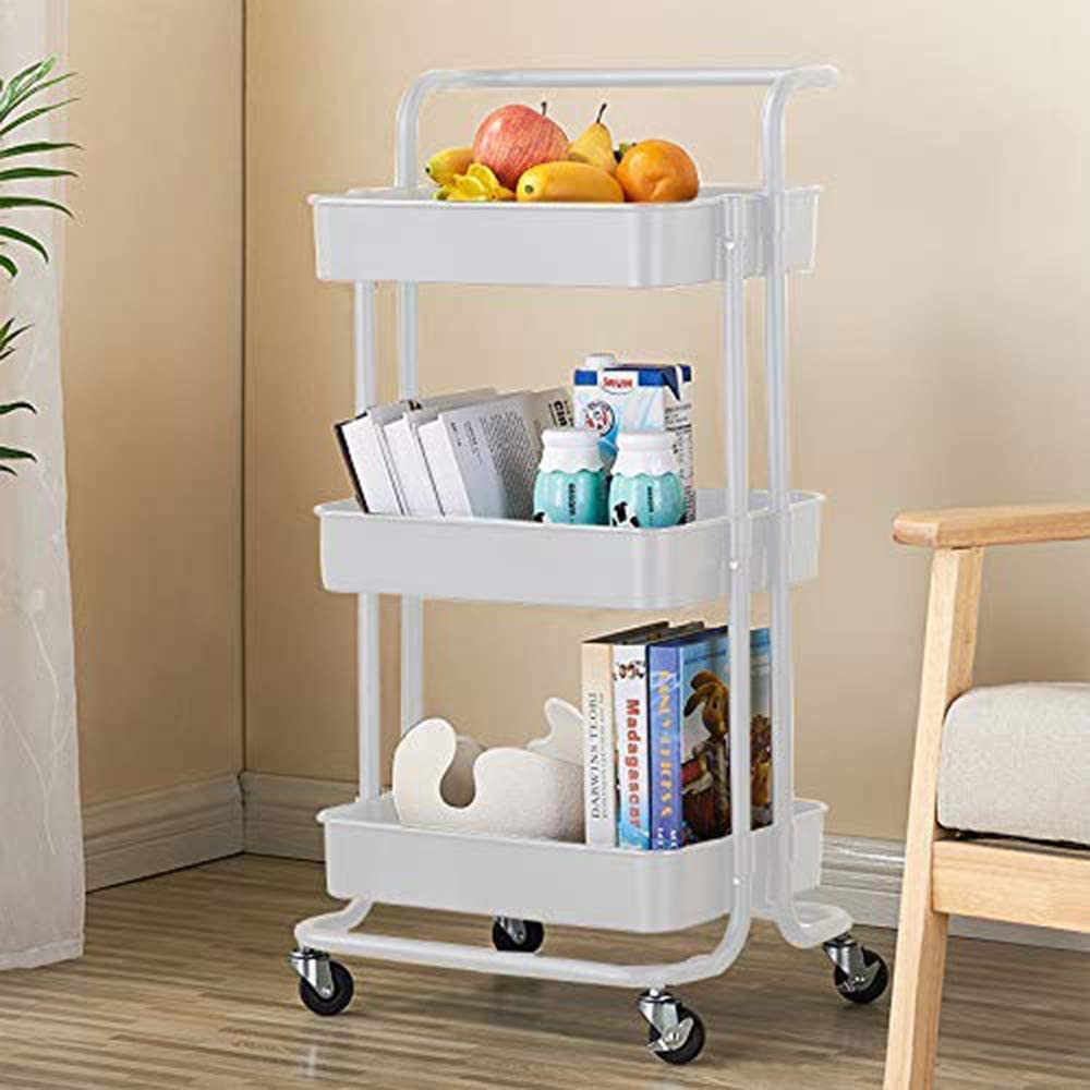 Storage Trolley Cart - 3-Tier Rolling Utility Organizer Rack with Mesh Basket Lock Wheels - Multi-Purpose ABS Shelf for Office Library Kitchen Kids' Room Bathroom Laundry Room (White)