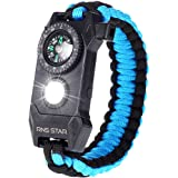 RNS STAR Paracord Survival Bracelet 6-in-1 - Hiking Gear Traveling Camping Gear Kit - 70% Bigger Compass LED SOS…