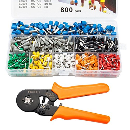 - Soosee Ferrule Wire Crimper Tool HSC8 6-4 0.25-6mm AWG 23-10 with 800pcs Terminal Connector