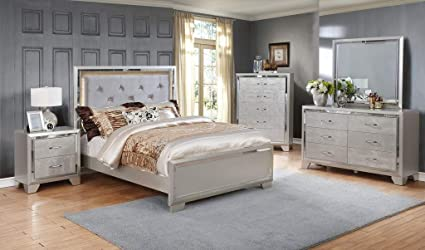 GTU Furniture Contemporary Silver Style Wooden 5Pc King Bedroom  Set(K/D/M/N/C)