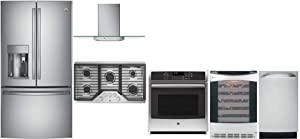 """GE Profile 6 Pcs Kitchen Package with 36"""" French Door Refrigerator, 36"""" Gas Cooktop, 36"""" Wall Mount Hood, 27"""" Electric Single Wall Oven, 18"""" Built In Dishwasher and 24"""" Wine Cooler in Stainless Steel"""
