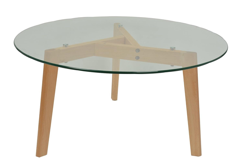 ts-ideen 4882 Tavolino Lounge Style in Faggio con lastra in vetro di sicurezza ESG 8 mm. Diametro 79 cm.
