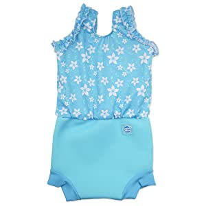 Splash About Happy Nappy Costume (Neoprene Swim Nappy) (Blue Blossom, Medium (3-8 Months))